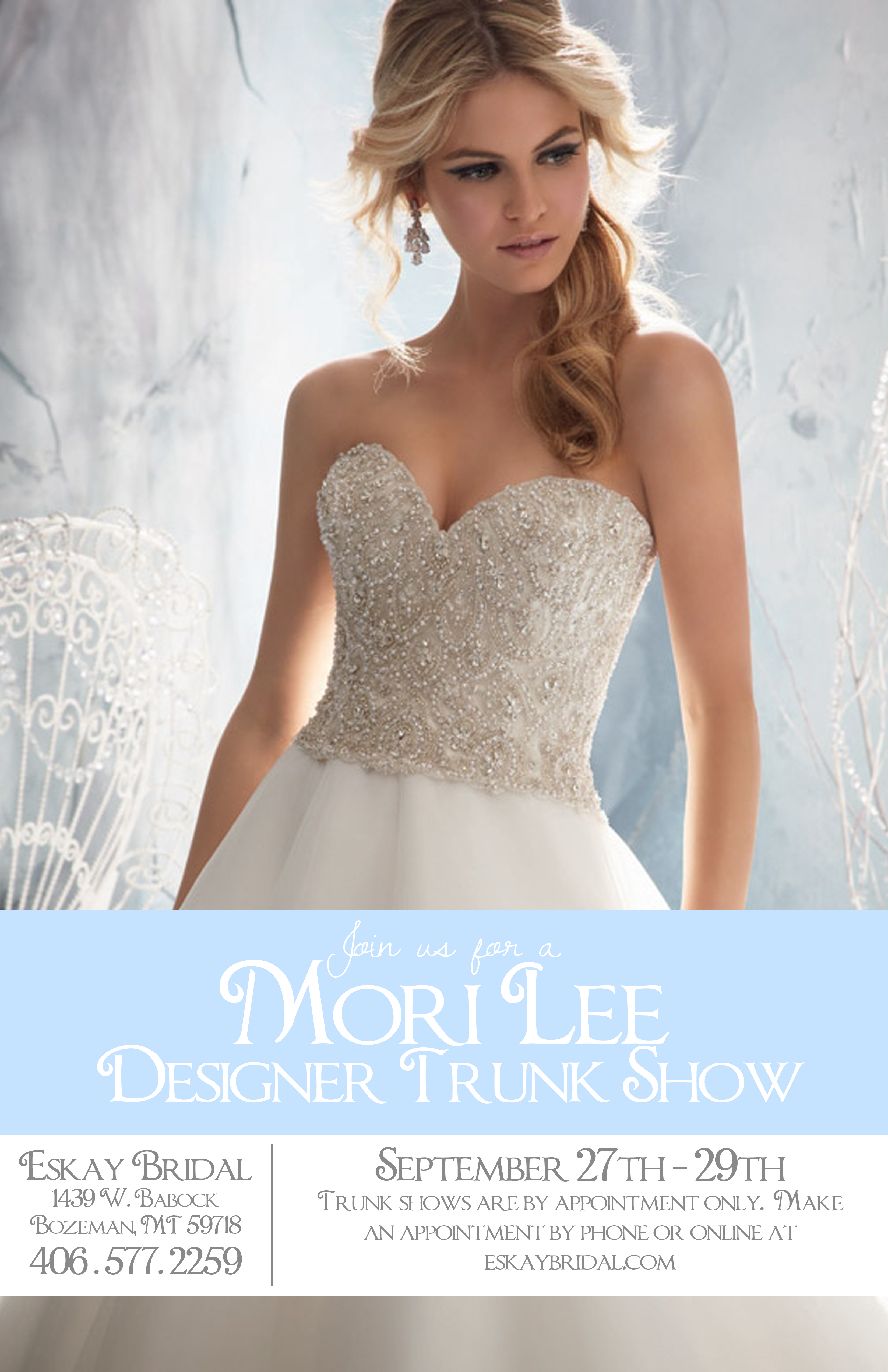 Mori Lee Trunk Show Poster no logo – Eskay Bridal